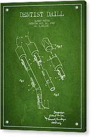 Dentist Drill Patent From 1965 - Green Acrylic Print