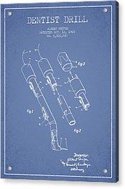 Dentist Drill Patent From 1965 - Light Blue Acrylic Print