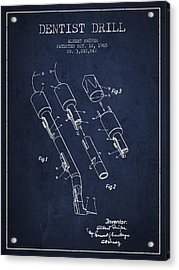Dentist Drill Patent From 1965 - Navy Blue Acrylic Print