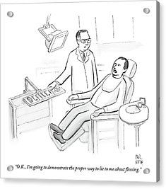 Dentist Speaks To Man In Dentist Office Acrylic Print