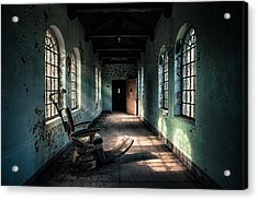 Acrylic Print featuring the photograph Dentists Chair In The Corridor by Gary Heller