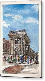 Acrylic Print featuring the mixed media Denton County National Bank by Tim Oliver