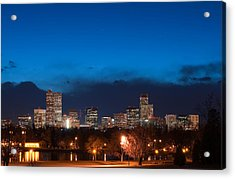 Denver At Twilight  Acrylic Print by Eric Rundle