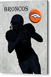 Denver Broncos Football Acrylic Print by David Dehner