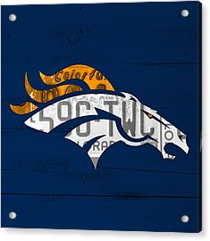 Denver Broncos Football Team Retro Logo Colorado License Plate Art Acrylic Print