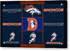 Denver Broncos Uniform Patches Acrylic Print by Joe Hamilton