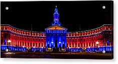 Denver City And Country Building In Bronco Blue And Orange Acrylic Print