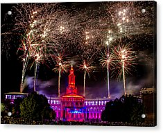 Denver Co 4th Of July Fireworks Acrylic Print by Teri Virbickis