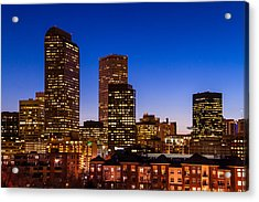 Denver Colorado Skyline At Blue Hour Mar 2013 Acrylic Print