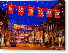 Denver Larimer Square Blue Hour Nfl United In Orange Acrylic Print