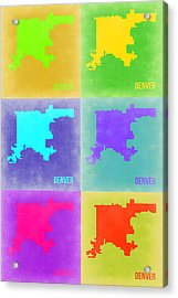 Denver Pop Art Map 3 Acrylic Print by Naxart Studio