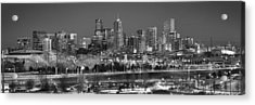 Acrylic Print featuring the photograph Denver Skyline At Dusk Black And White Bw Evening Panorama Broncos Colorado  by Jon Holiday