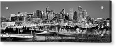 Acrylic Print featuring the photograph Denver Skyline At Dusk Evening Bw Black And White Evening Panorama Broncos Colorado  by Jon Holiday