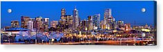 Acrylic Print featuring the photograph Denver Skyline At Dusk Evening Color Evening Extra Wide Panorama Broncos by Jon Holiday
