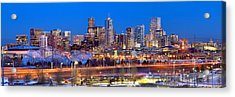 Acrylic Print featuring the photograph Denver Skyline At Dusk Evening Color Evening Panorama Broncos Colorado  by Jon Holiday
