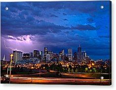 Denver Skyline Acrylic Print by John K Sampson
