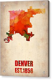 Denver Watercolor Map Acrylic Print by Naxart Studio