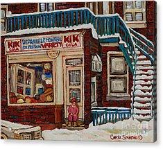 Depanneur Kik Cola Montreal Acrylic Print by Carole Spandau