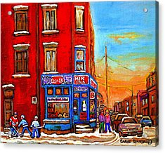 Depanneur Marche Fruits Verdun Restaurant Smoked Meat Deli  Montreal Winter Scene Paintings  Hockey  Acrylic Print by Carole Spandau