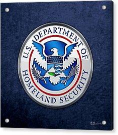 Department Of Homeland Security - D H S Emblem On Blue Velvet Acrylic Print
