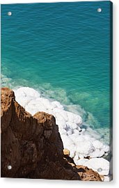 Deposit Of Salt And Gypsum By The Cliff Acrylic Print by Keren Su