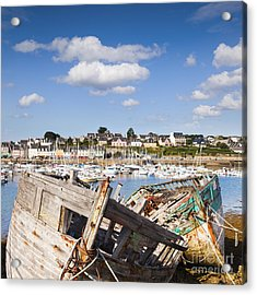 Derelict Fishing Boats Camaret Sur Mer Brittany Acrylic Print by Colin and Linda McKie