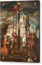 Descent Of The Cross Oil On Panel Acrylic Print