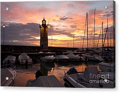 Desenzano Del Garda Marina Old Lighthouse Sunrise Acrylic Print by Kiril Stanchev