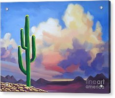 Acrylic Print featuring the painting Desert Cactus At Sunset by Tim Gilliland
