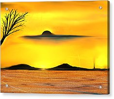Acrylic Print featuring the painting Desert Eclipse by Yul Olaivar