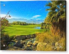 Desert Golf Resort Pastel Photograph Acrylic Print