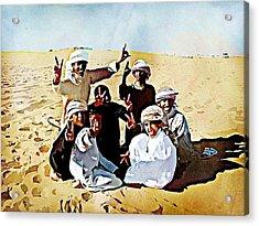 Desert Kids Acrylic Print by Peter Waters