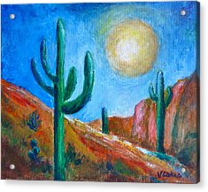 Desert Moon Acrylic Print by Victoria Lakes