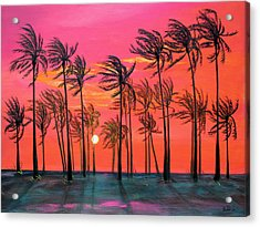 Desert Palm Trees At Sunset Acrylic Print by Asha Carolyn Young