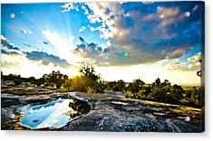 Desert Puddle Reflection Acrylic Print by Chase Taylor