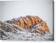 Desert Snow At Sunrise Acrylic Print