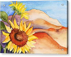 Acrylic Print featuring the painting Desert Sunflower by Shirin Shahram Badie