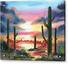 Desert Sunrise Acrylic Print by Roy Gould
