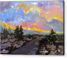 Acrylic Print featuring the painting Desert Sunset by MaryAnne Ardito