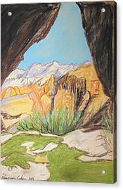 Desert View From The Cave Acrylic Print by Esther Newman-Cohen