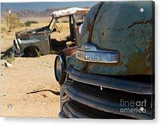 Acrylic Print featuring the photograph Desert Wrecks  by Juergen Klust