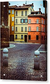 Deserted Street With Colored Houses In Parma Italy Acrylic Print