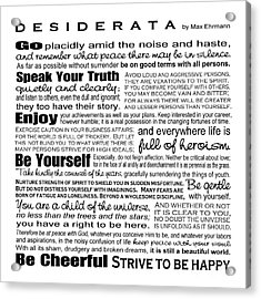 Desiderata - Black And White Square Acrylic Print