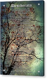 Desiderata Inspiration Over Old Textured Tree Acrylic Print