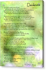 Desiderata - Inspirational Poem Acrylic Print
