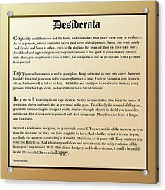 Desiderata Old English Square Acrylic Print