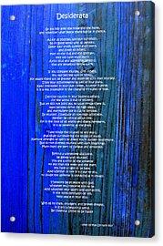 Desiderata On Blue Acrylic Print by Leena Pekkalainen