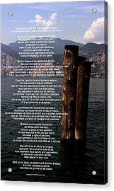 Desiderata On Lake View Acrylic Print