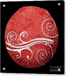 Designer Red Baseball Square Acrylic Print