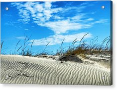 Acrylic Print featuring the photograph Designs In Sand And Clouds by Gary Slawsky